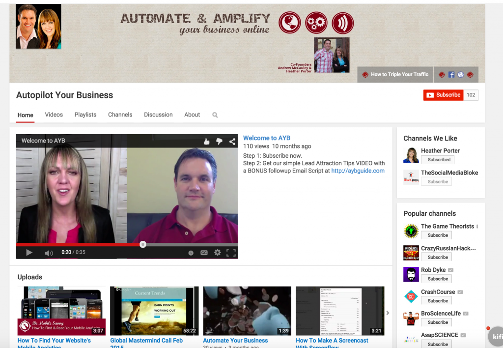 youtube channel for autopilot your business to increase blog traffic