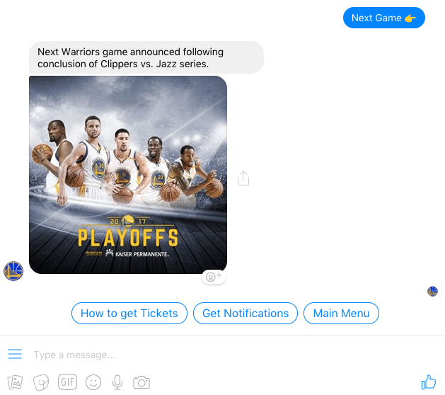 The Rise of Facebook Messenger Chatbots - Golden State Warriors
