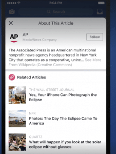 Facebook is testing a Context button