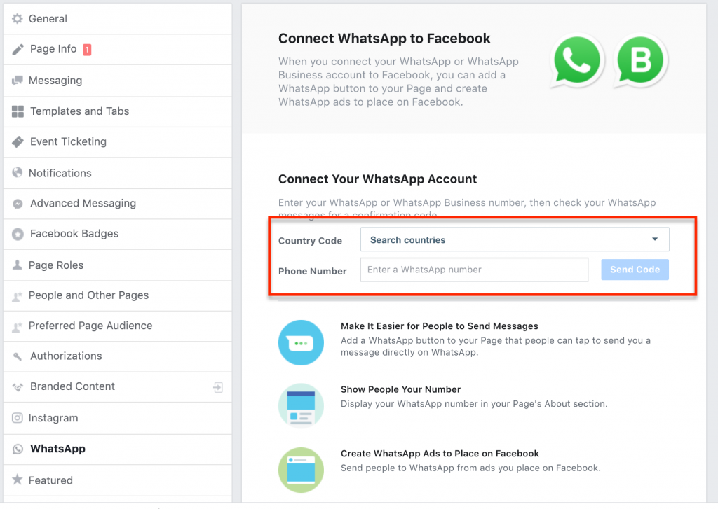 Connect your WhatsApp phone number to facebook