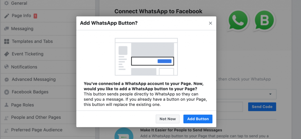 Add the WhatsApp Button to your facebook page